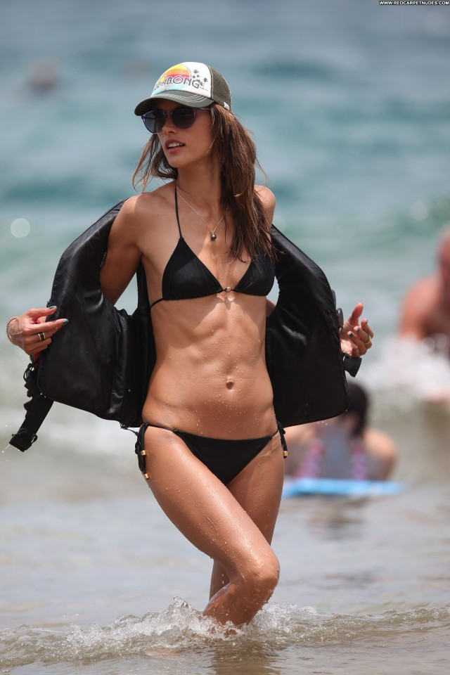 Alessandra Ambrosio The Beach Babe Bikini Beautiful Celebrity Black
