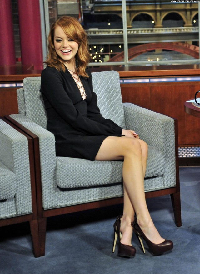 Emma Stone Late Show With David Letterman Beautiful Celebrity Posing